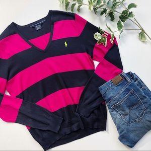 Ralph Lauren V Neck Sweater Striped Pink & Black